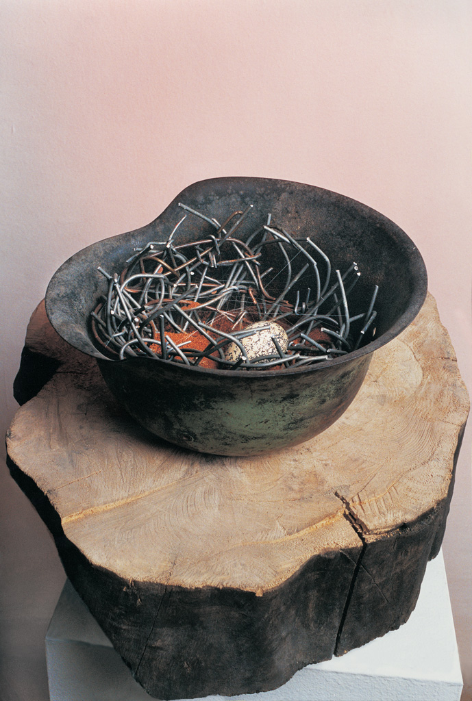 One more forgotten small egg (wood, metal) 1995  400x400x400