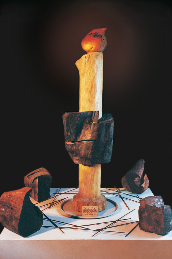 Through the chaos and darkness (wood, metal) 1996  1150x800x800