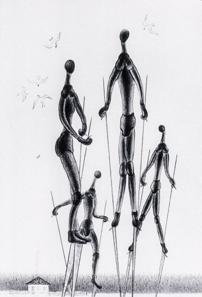 Mannequins in the Field (Chinese pen)  600 x 400