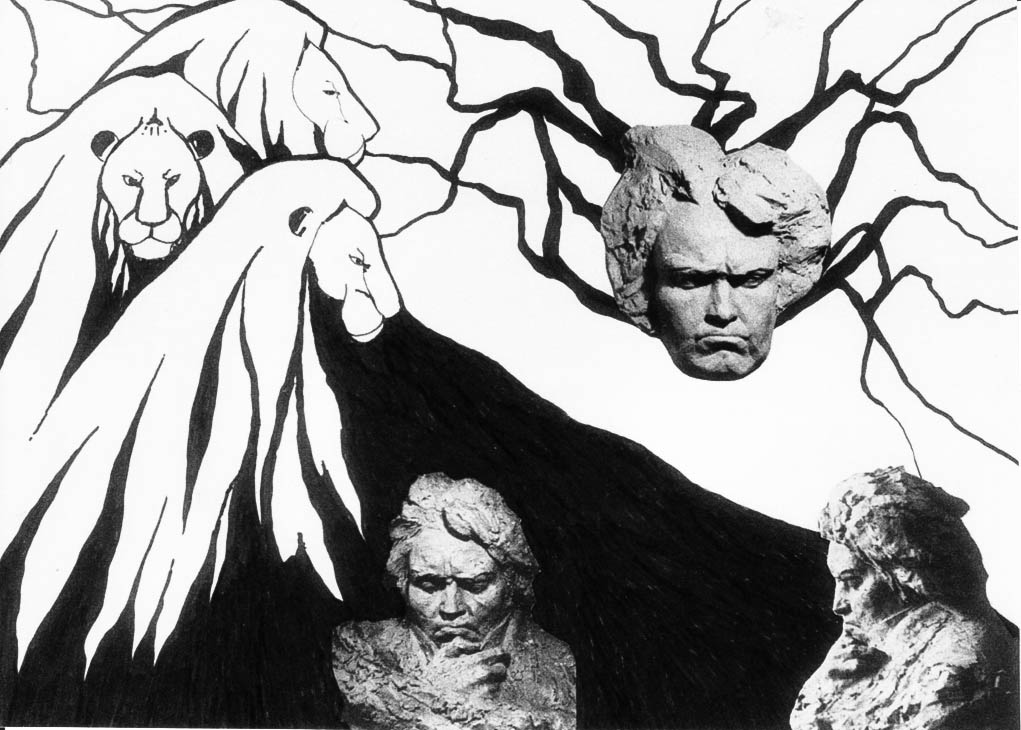 Dedicated to Beethoven (Ink, photo montage)  400 x 300
