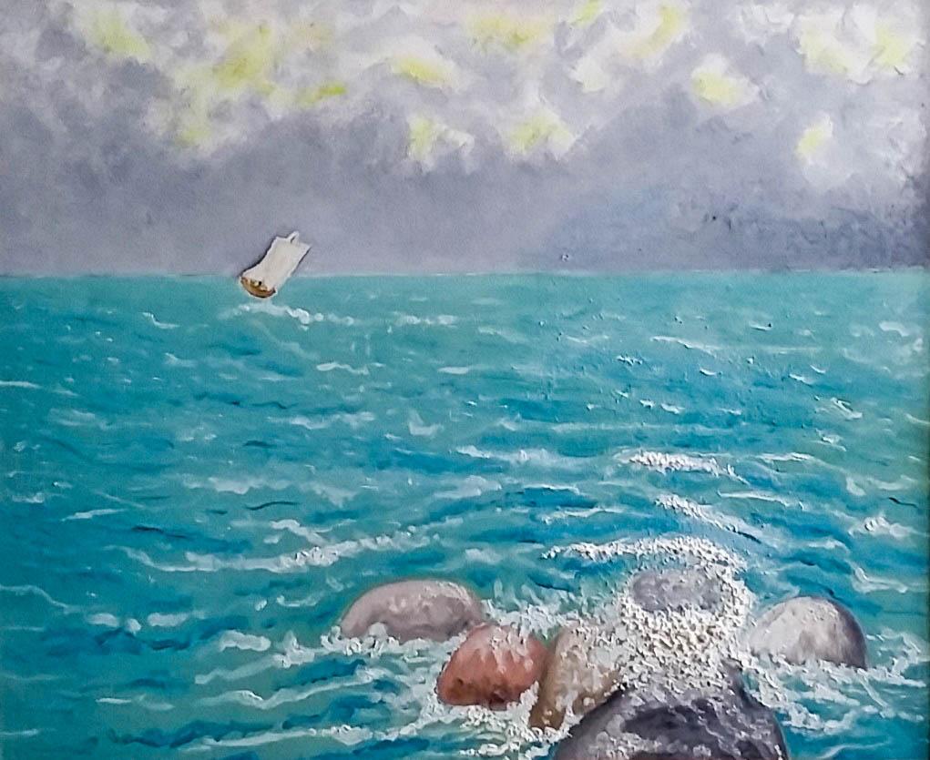 Sailboat in the sea (Fiberboard, oil)