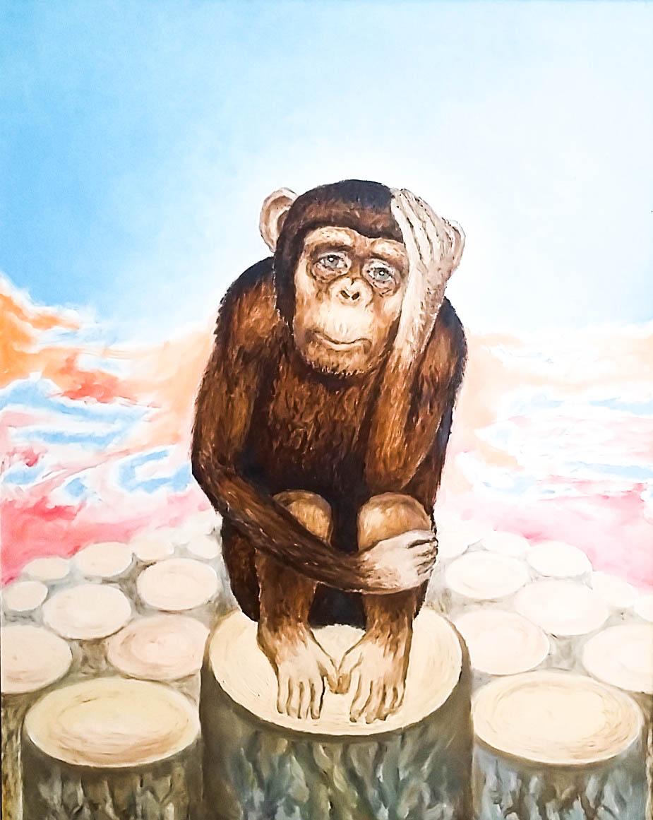 Chimpanzee (Canvas, oil)